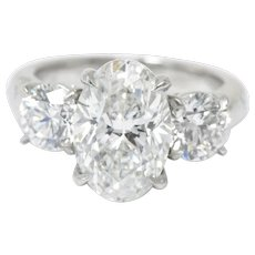 4.53 Carat Stunning Platinum 3 Stone Diamond Engagement Ring GIA
