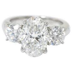 Stunning Platinum 3 Stone Diamond Engagement Ring GIA
