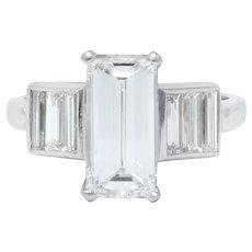 Dazzling 1950's Platinum Emerald Cut Diamond Engagement Ring GIA