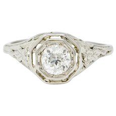 18K White Gold Old European Cut Diamond Engagement Ring Art Deco