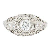 Art Deco .40 CTW Diamond Heart Filigree Platinum Engagement Ring