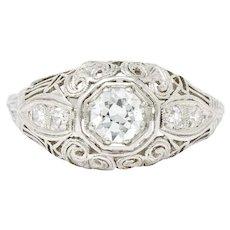 Art Deco .40 CTW Diamond Heart Filigree Platinum Alternative Engagment Ring