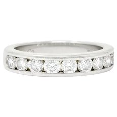 Tiffany & Co. 1980's 1.0 CTW Diamond Platinum Stackable Wedding Band Ring