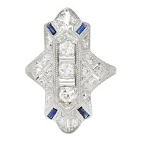 Edwardian .70 CTW Diamond Synthetic Sapphire Platinum Cocktail Ring
