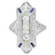 Large Edwardian Platinum Diamond Sapphire Cocktail Ring