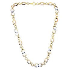Tiffany & Co. 1940's 14kt Rose & White Gold Moonstone Sapphire Diamond Necklace