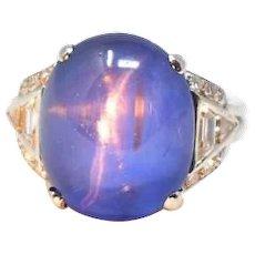 Strong Art Deco Ceylon Star Sapphire Diamond Ring Agl