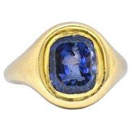 Early 6 .00 CTW Carved Ostrich Unheated Ceylon Sapphire 18K Yellow Gold Unisex Ring AGL