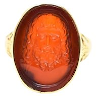 Victorian Unisex Tiffany & Co. Jesus Signet Carved Carnelian Ring