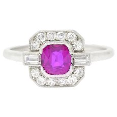 1.65 Carat No Heat Burma Art Deco Platinum Ruby Diamond Ring GIA