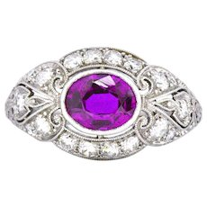 Exquisite Art Deco 2.02 CTW No Heat Burma Sapphire & Diamond Platinum Ring AGL