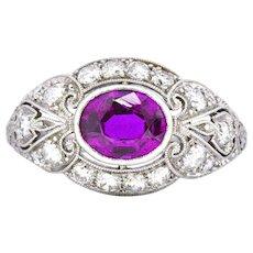 2.02 CTW No Heat Burma Art Deco Platinum Sapphire Diamond Burmese Ring AGL