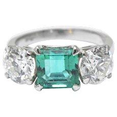 5.30 Carat Magnificent Three Stone Diamond Colombian Emerald Platinum Ring GIA Circa 1950