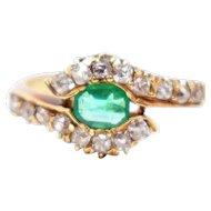 Victorian Emerald Old Mine Diamond 18K Gold Ring