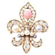 Stunning Victorian 18K Conch Pearl Fleur De Lis Diamond Brooch