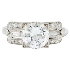 Striking 1940's Platinum Diamond Engagement Ring Gia