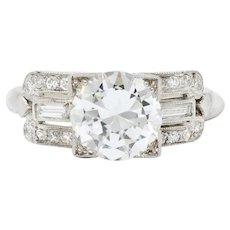 Striking 1940's 2.07 CTW Diamond Platinum Alternative Ring GIA