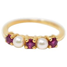 Cute Tiffany & Co. 14K Yellow Gold Pearl & Ruby Ring