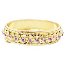 Zolotas Greece Pink Sapphire 18K Yellow Gold Cuff Bracelet Bangle