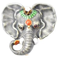 Art Nouveau Enamel Elephant Diamond Garnet 14K Rose Gold Watch Pin