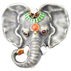 Art Nouveau Enamel Elephant Diamond Garnet 14K Rose Gold Watch Pin