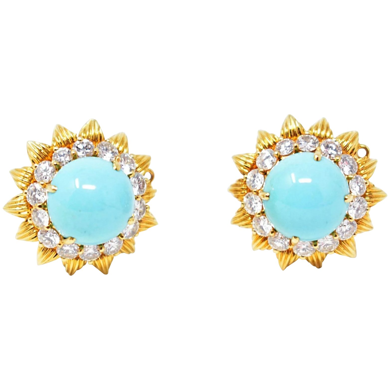 Flirty Vintage 18k Gold Turquoise Diamond Earrings Wilson S