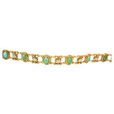 Art Nouveau Bippart & Co. Diamond Turquoise Bracelet 14K Gold Circa 1900