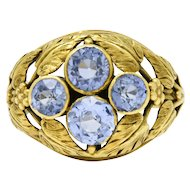 Graceful 14K Green Gold Arts & Crafts Sapphire Ring