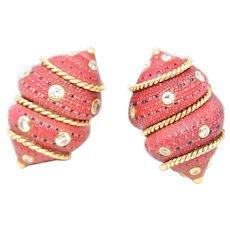 Fred Leighton 14K Gold Diamond Composite Seashell Earrings circa 1980