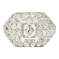 Art Deco 1.76 CTW Diamond Platinum Pave Dinner Ring
