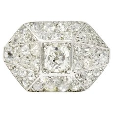 1.76 Carat Fearless Platinum Art Deco Diamond Ring