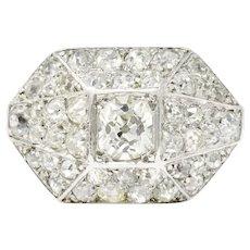 Vintage 1.76 CTW Diamond Platinum Cocktail Alternative Ring Circa 1930