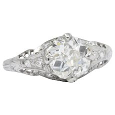 1.28 Carat Platinum Art Deco Diamond Filigree Engagement Ring GIA