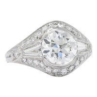 1930's Vintage 2.95 CTW Diamond Platinum Alternative Ring GIA Certified