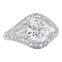 1930's Vintage 2.95 CTW Diamond Platinum Alternative Ring GIA Certified