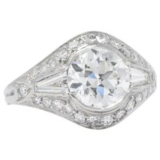 Intense 2.05 Carat Platinum Art Deco Diamond Engagement Ring GIA