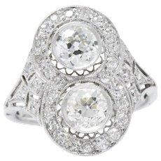 1.54 Carat Platinum Edwardian two Diamond Ring Alternative Engagement
