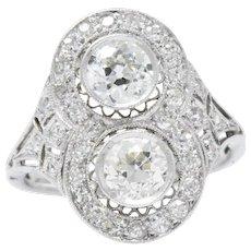 Edwardian 1.54 CTW Toi Et Moi Diamond Platinum Engagement Alternative Ring