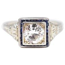 18K white gold Art Deco Diamond Sapphire engagement Filigree Ring
