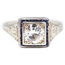 Art Deco Diamond Synthetic Sapphire 18k White Gold Alternative Engagement Ring
