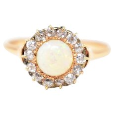 Delightful Victorian Opal Diamond Cluster Ring 14K Yellow Gold