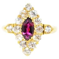 Navette Victorian Ruby Old Mine Cut Diamond 18K Yellow Gold Ring
