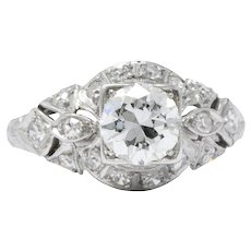 1.02 Carat Platinum Art Deco Diamond Filigree Engagement Ring