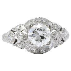 Elegant Platinum Art Deco Diamond Filigree Engagement Ring