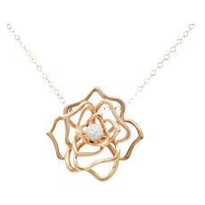 Roberto Coin 1.00 CTW Diamond 18 Karat Rose Gold Rose Flower Necklace