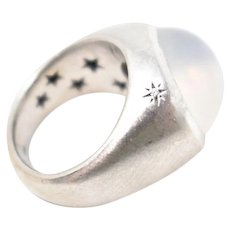 H STERN Moonstone Cabachon Dome Ring Diamond 18k Brushed White Gold