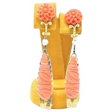 Victorian 14K Gold Carved Natural Coral Earrings