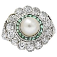 Alluring Platinum Art Deco Diamond Emerald Natural Salt Water Pearl Ring