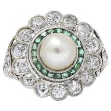 Alluring Platinum Art Deco Diamond Emerald Natural Salt Water Pearl Ring