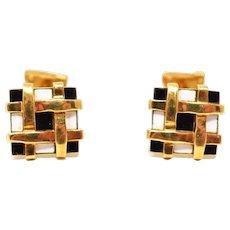 Schlumberger Tiffany 18K Gold Black & White Enamel Checkered Cufflinks